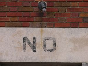 "The word ""no"" on a building"