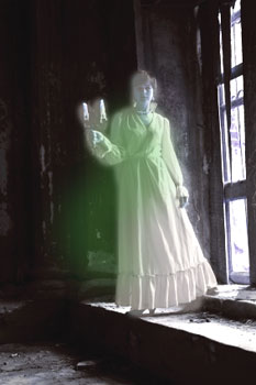 ghostly woman with candle