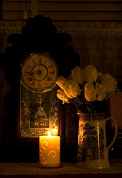 candle and clock